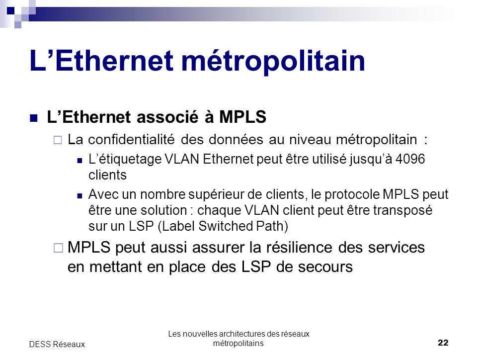 Les nouvelles architectures des réseaux métropolitains22 DESS Réseaux LEthernet métropolitain LEthernet associé à MPLS La confidentialité des données au niveau métropolitain : Létiquetage VLAN Ethernet peut être utilisé jusquà 4096 clients Avec un nombre supérieur de clients, le protocole MPLS peut être une solution : chaque VLAN client peut être transposé sur un LSP (Label Switched Path) MPLS peut aussi assurer la résilience des services en mettant en place des LSP de secours
