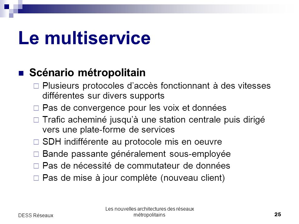 Les nouvelles architectures des réseaux métropolitains25 DESS Réseaux Le multiservice Scénario métropolitain Plusieurs protocoles daccès fonctionnant