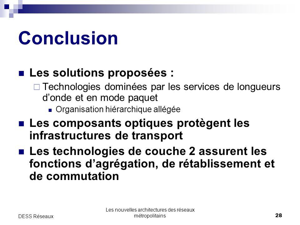 Les nouvelles architectures des réseaux métropolitains28 DESS Réseaux Conclusion Les solutions proposées : Technologies dominées par les services de l