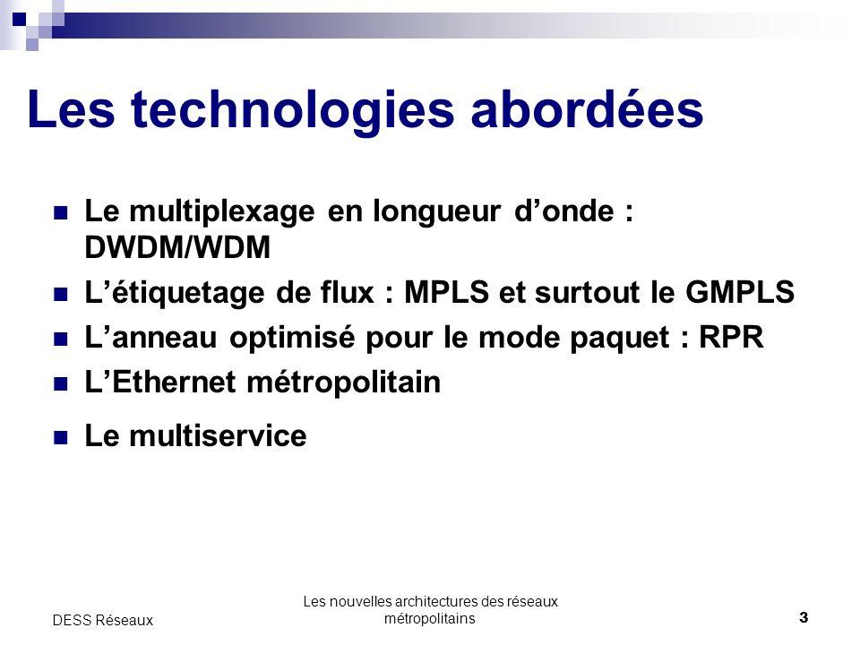 Les nouvelles architectures des réseaux métropolitains3 DESS Réseaux Les technologies abordées Le multiplexage en longueur donde : DWDM/WDM Létiquetage de flux : MPLS et surtout le GMPLS Lanneau optimisé pour le mode paquet : RPR LEthernet métropolitain Le multiservice
