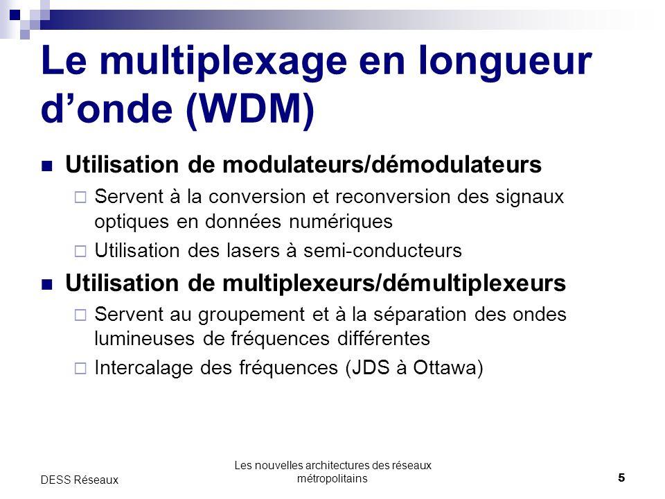 Les nouvelles architectures des réseaux métropolitains5 DESS Réseaux Le multiplexage en longueur donde (WDM) Utilisation de modulateurs/démodulateurs Servent à la conversion et reconversion des signaux optiques en données numériques Utilisation des lasers à semi-conducteurs Utilisation de multiplexeurs/démultiplexeurs Servent au groupement et à la séparation des ondes lumineuses de fréquences différentes Intercalage des fréquences (JDS à Ottawa)