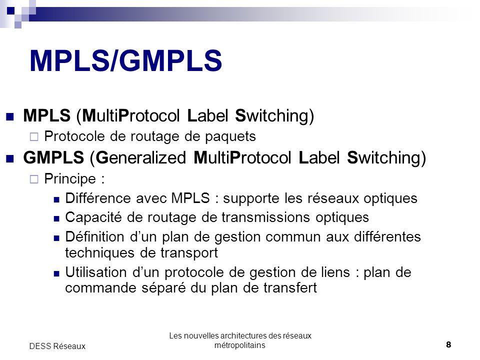 Les nouvelles architectures des réseaux métropolitains8 DESS Réseaux MPLS/GMPLS MPLS (MultiProtocol Label Switching) Protocole de routage de paquets GMPLS (Generalized MultiProtocol Label Switching) Principe : Différence avec MPLS : supporte les réseaux optiques Capacité de routage de transmissions optique s Définition dun plan de gestion commun aux différentes techniques de transport Utilisation dun protocole de gestion de liens : plan de commande séparé du plan de transfert