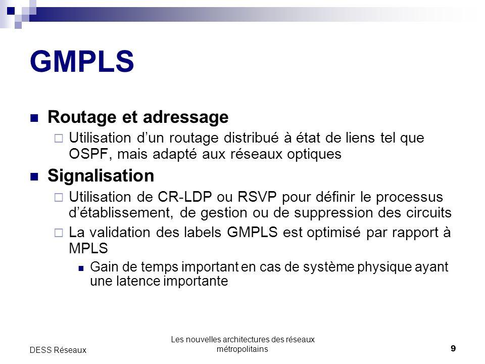 Les nouvelles architectures des réseaux métropolitains9 DESS Réseaux GMPLS Routage et adressage Utilisation dun routage distribué à état de liens tel que OSPF, mais adapté aux réseaux optiques Signalisation Utilisation de CR-LDP ou RSVP pour définir le processus détablissement, de gestion ou de suppression des circuits La validation des labels GMPLS est optimisé par rapport à MPLS Gain de temps important en cas de système physique ayant une latence importante
