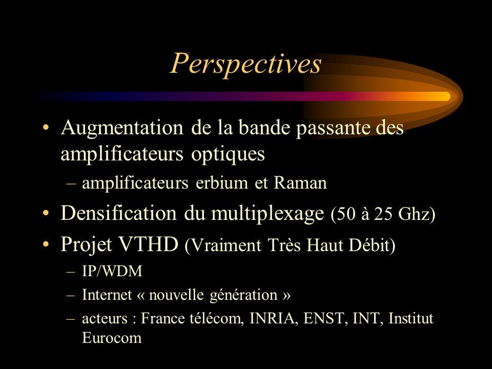 Perspectives Augmentation de la bande passante des amplificateurs optiques –amplificateurs erbium et Raman Densification du multiplexage (50 à 25 Ghz)