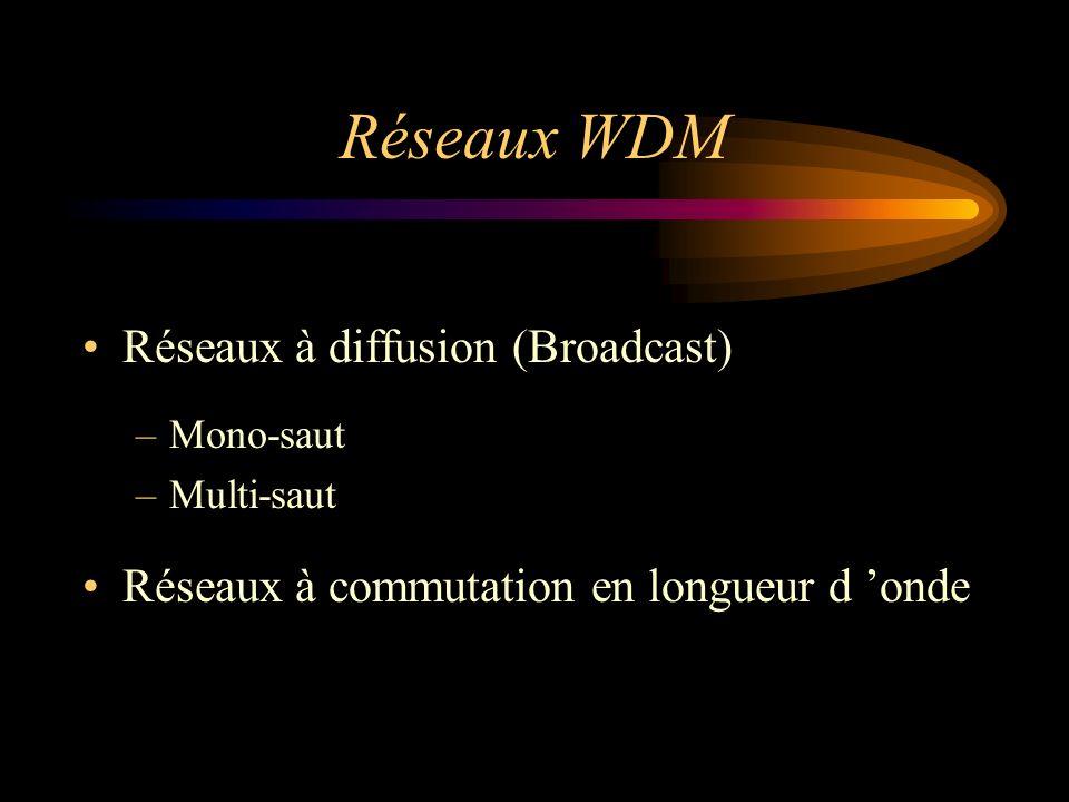 Réseaux WDM Réseaux à diffusion (Broadcast) –Mono-saut –Multi-saut Réseaux à commutation en longueur d onde