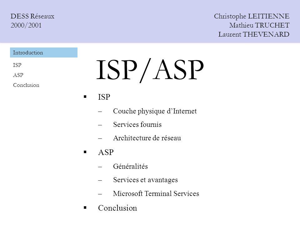 ISP/ASP Christophe LEITIENNE Mathieu TRUCHET Laurent THEVENARD DESS Réseaux 2000/2001 ISP –Couche physique dInternet –Services fournis –Architecture d