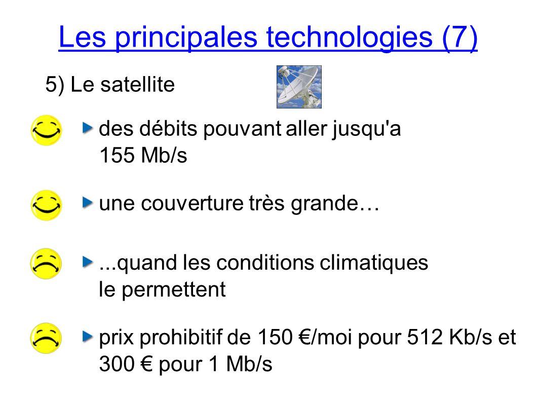 Les principales technologies (7) 5) Le satellite des débits pouvant aller jusqu a 155 Mb/s...quand les conditions climatiques le permettent une couverture très grande… prix prohibitif de 150 /moi pour 512 Kb/s et 300 pour 1 Mb/s