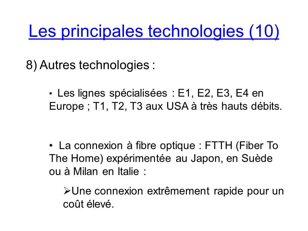 Les principales technologies (10) 8) Autres technologies : Les lignes spécialisées : E1, E2, E3, E4 en Europe ; T1, T2, T3 aux USA à très hauts débits.