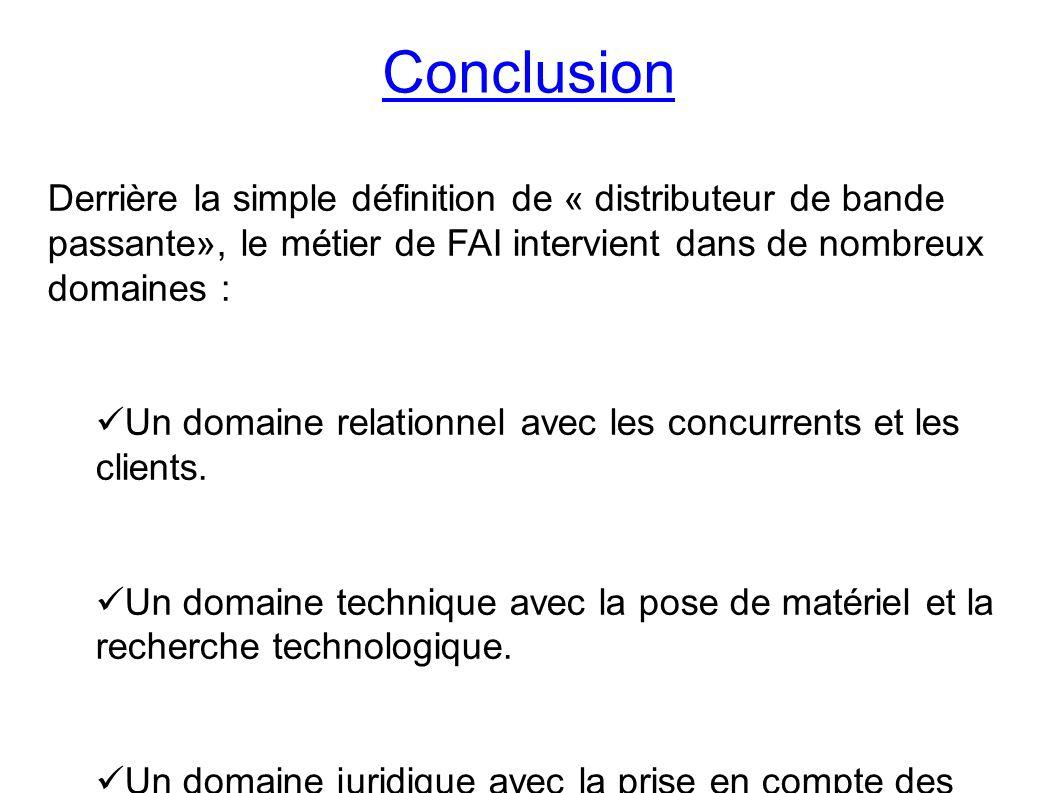 Conclusion Derrière la simple définition de « distributeur de bande passante», le métier de FAI intervient dans de nombreux domaines : Un domaine relationnel avec les concurrents et les clients.