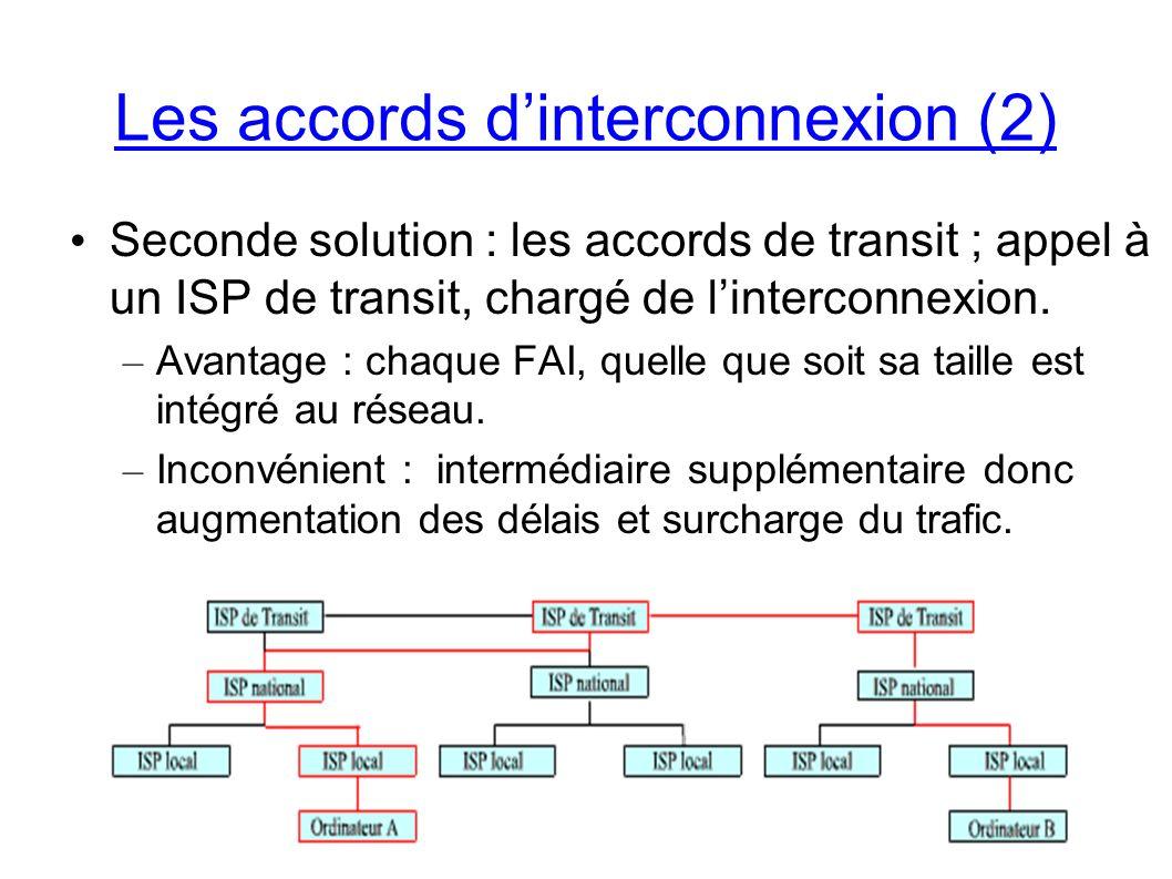 Seconde solution : les accords de transit ; appel à un ISP de transit, chargé de linterconnexion.