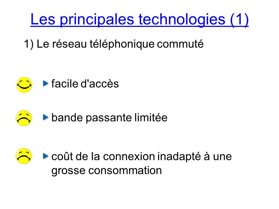 facile d accès bande passante limitée coût de la connexion inadapté à une grosse consommation Les principales technologies (1) 1) Le réseau téléphonique commuté