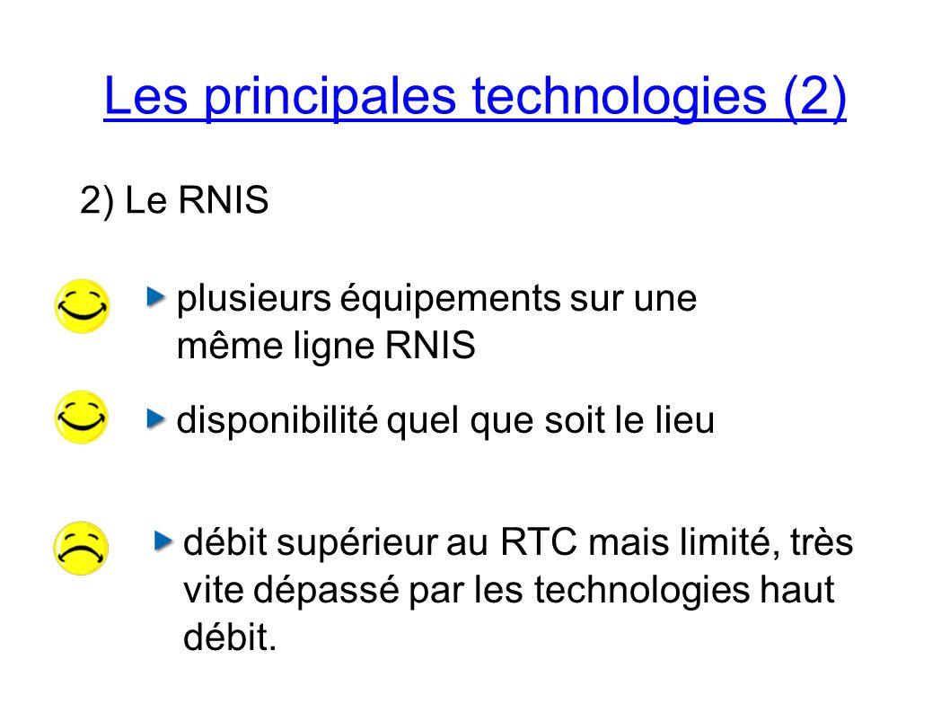Les principales technologies (2) 2) Le RNIS plusieurs équipements sur une même ligne RNIS disponibilité quel que soit le lieu débit supérieur au RTC mais limité, très vite dépassé par les technologies haut débit.