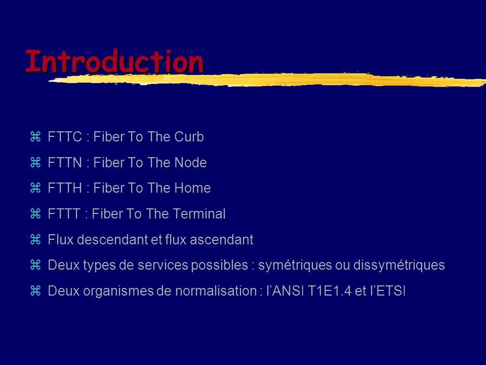Introduction FTTC : Fiber To The Curb FTTN : Fiber To The Node FTTH : Fiber To The Home FTTT : Fiber To The Terminal Flux descendant et flux ascendant