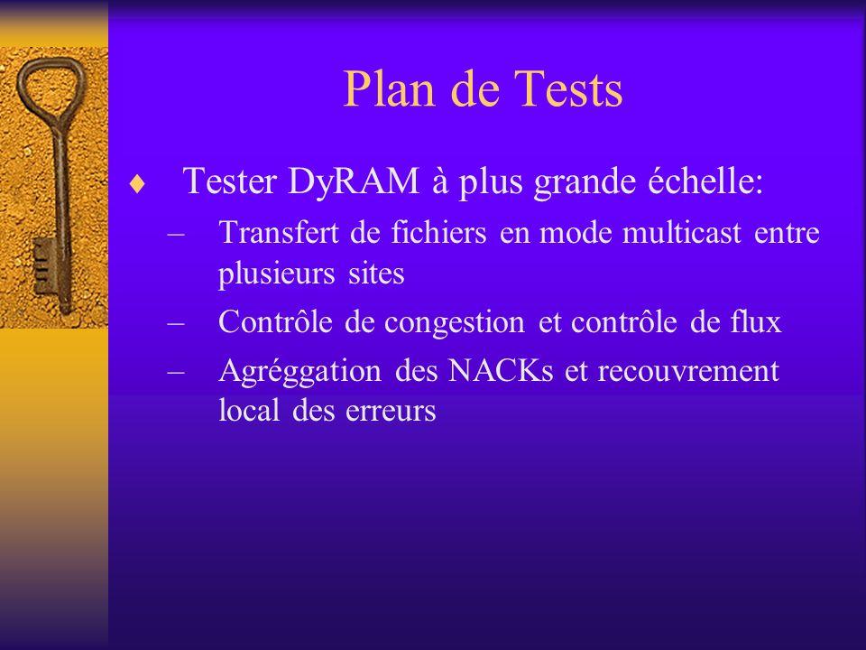 Plan de Tests Tester DyRAM à plus grande échelle: –Transfert de fichiers en mode multicast entre plusieurs sites –Contrôle de congestion et contrôle de flux –Agréggation des NACKs et recouvrement local des erreurs
