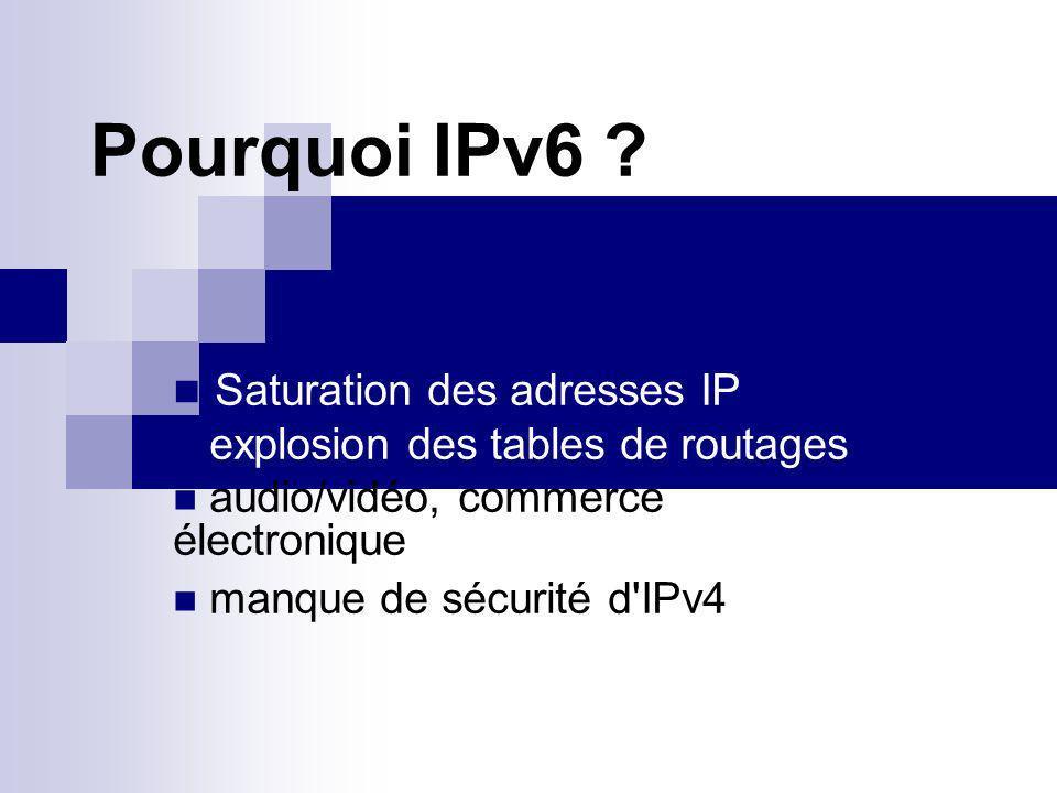 Résolutions de ces problèmes Groupe de travail IPng de lIETF => RFC 1550 RFC 1726 de décembre 1994 3 propositions retenues SIPP retenu