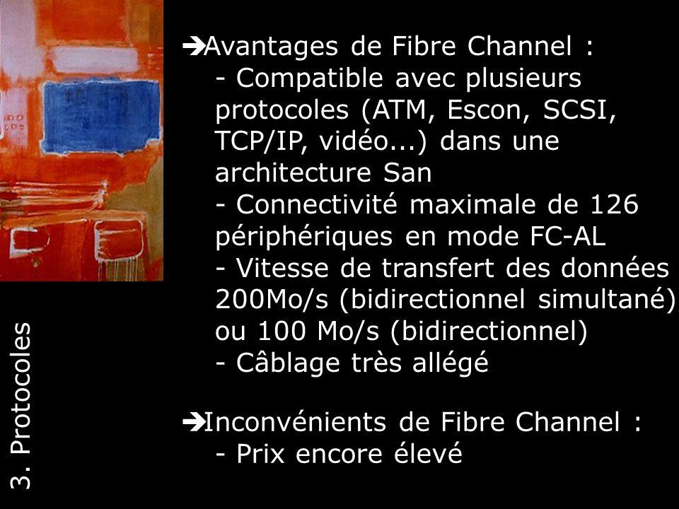 28 Avantages de Fibre Channel : - Compatible avec plusieurs protocoles (ATM, Escon, SCSI, TCP/IP, vidéo...) dans une architecture San - Connectivité m