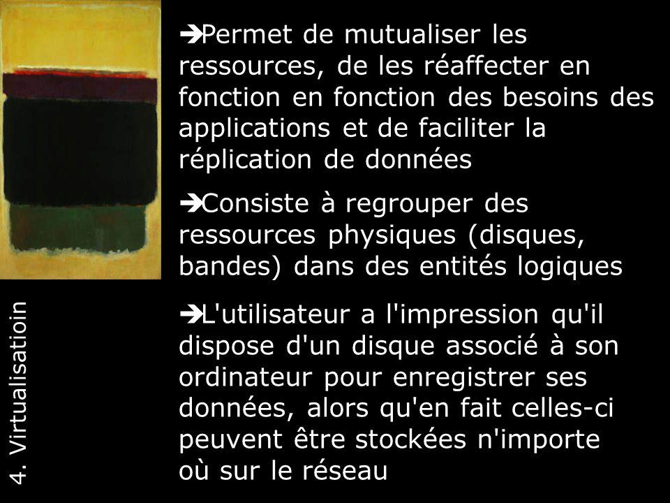 34 Consiste à regrouper des ressources physiques (disques, bandes) dans des entités logiques 4. Virtualisatioin L'utilisateur a l'impression qu'il dis