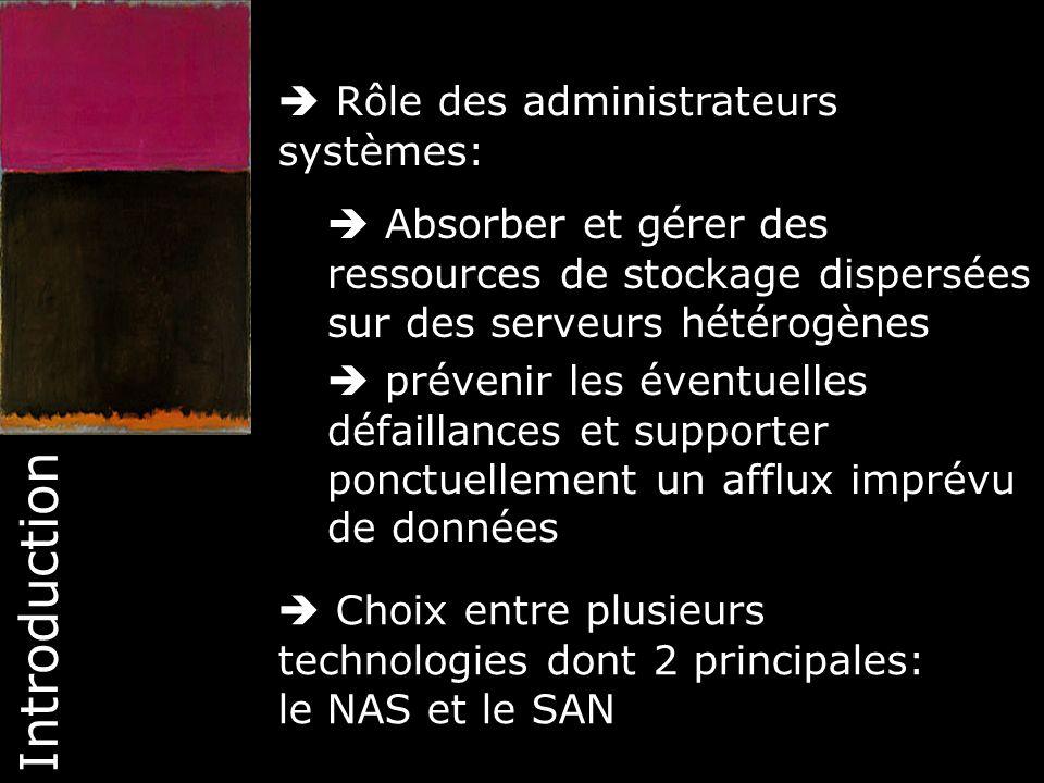 5 Introduction SAN: Le stockage est accessible à travers un réseau qui lui est spécialement dédié.