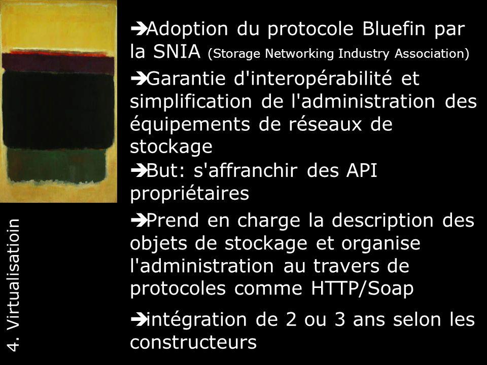 40 Adoption du protocole Bluefin par la SNIA (Storage Networking Industry Association) 4. Virtualisatioin Garantie d'interopérabilité et simplificatio