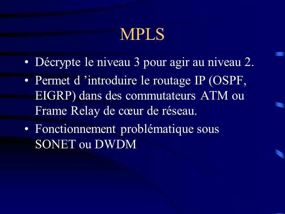 MPLS Décrypte le niveau 3 pour agir au niveau 2. Permet d introduire le routage IP (OSPF, EIGRP) dans des commutateurs ATM ou Frame Relay de cœur de r