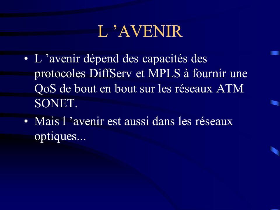 L AVENIR L avenir dépend des capacités des protocoles DiffServ et MPLS à fournir une QoS de bout en bout sur les réseaux ATM SONET. Mais l avenir est