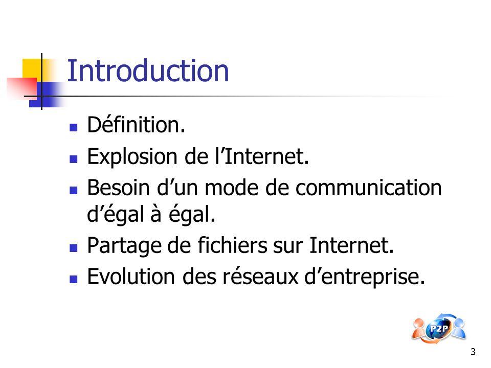 4 Principe de fonctionnement Chaque nœud est à la fois client et serveur.