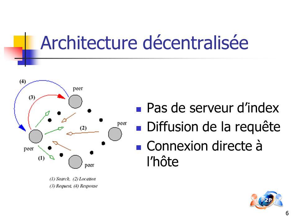 7 Centralisée vs Décentralisée Recherche efficace Non Surcharge du réseau Le serveur est le point faible Haute disponibilité exigée Non dépendant du serveur ou dun nœud du réseau Bande passante non optimisée Recherche non exhaustive et lente