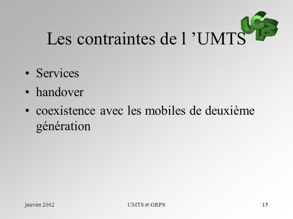 janvier 2002UMTS et GRPS15 Les contraintes de l UMTS Services handover coexistence avec les mobiles de deuxième génération