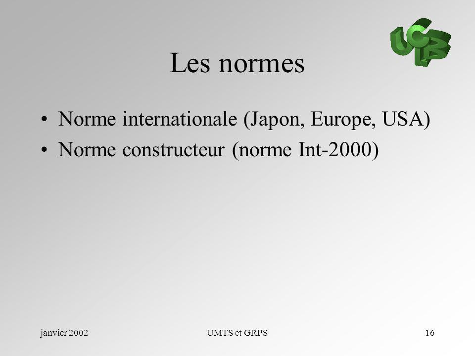 janvier 2002UMTS et GRPS16 Les normes Norme internationale (Japon, Europe, USA) Norme constructeur (norme Int-2000)