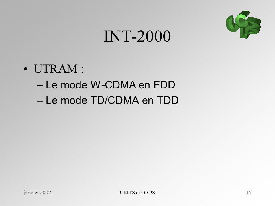 janvier 2002UMTS et GRPS17 INT-2000 UTRAM : –Le mode W-CDMA en FDD –Le mode TD/CDMA en TDD