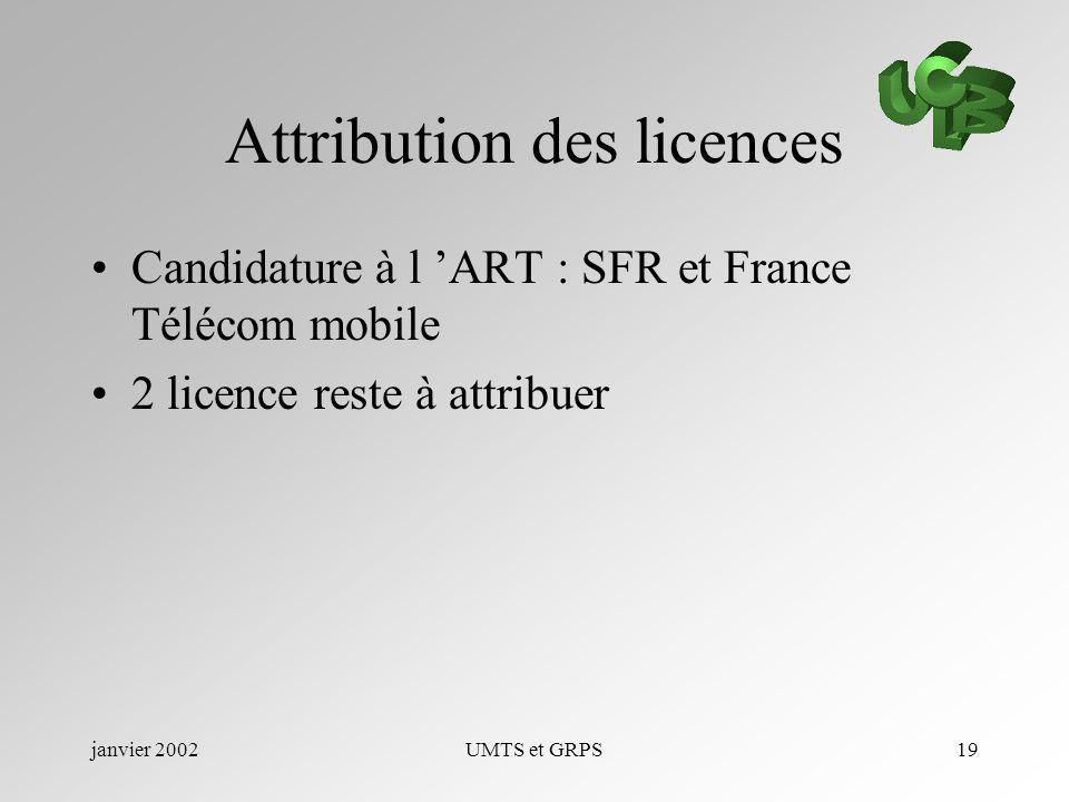 janvier 2002UMTS et GRPS19 Attribution des licences Candidature à l ART : SFR et France Télécom mobile 2 licence reste à attribuer