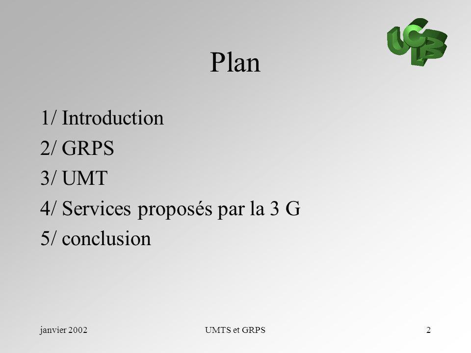 janvier 2002UMTS et GRPS2 Plan 1/ Introduction 2/ GRPS 3/ UMT 4/ Services proposés par la 3 G 5/ conclusion
