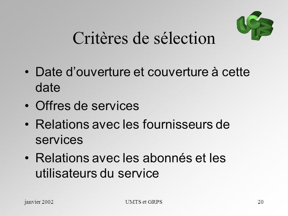 janvier 2002UMTS et GRPS20 Critères de sélection Date douverture et couverture à cette date Offres de services Relations avec les fournisseurs de serv