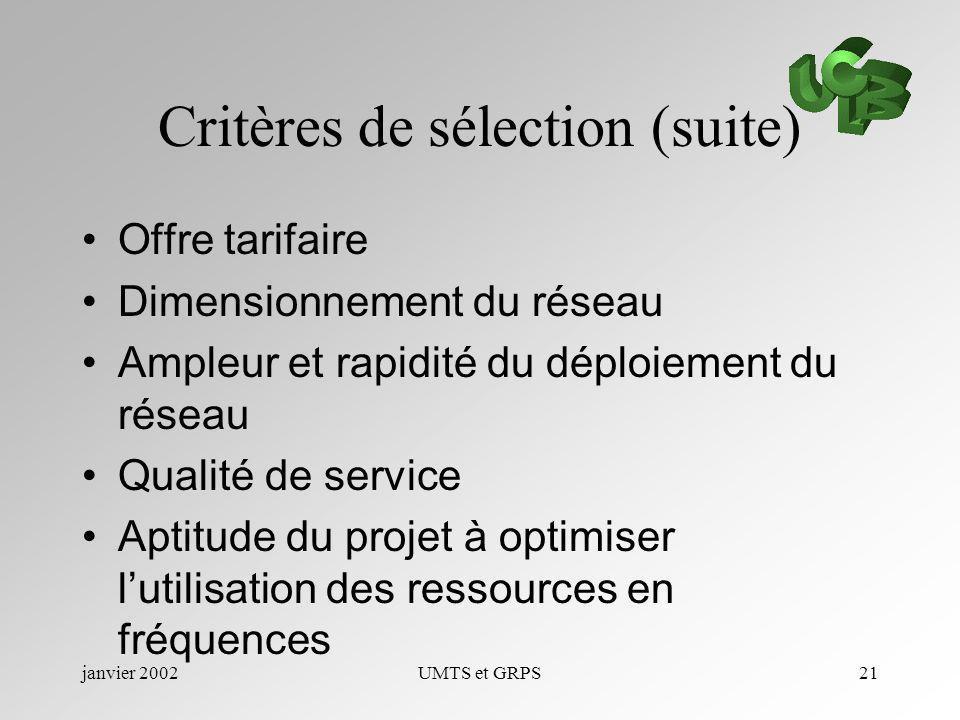 janvier 2002UMTS et GRPS21 Critères de sélection (suite) Offre tarifaire Dimensionnement du réseau Ampleur et rapidité du déploiement du réseau Qualit