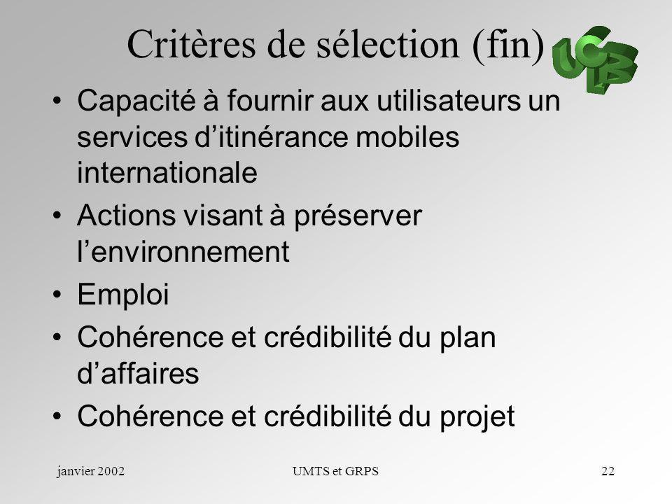 janvier 2002UMTS et GRPS22 Critères de sélection (fin) Capacité à fournir aux utilisateurs un services ditinérance mobiles internationale Actions visa