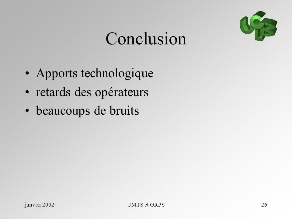 janvier 2002UMTS et GRPS26 Conclusion Apports technologique retards des opérateurs beaucoups de bruits