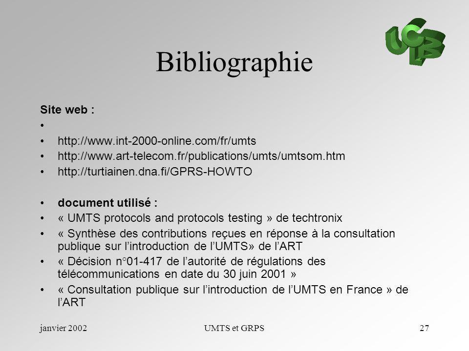 janvier 2002UMTS et GRPS27 Bibliographie Site web : http://www.int-2000-online.com/fr/umts http://www.art-telecom.fr/publications/umts/umtsom.htm http