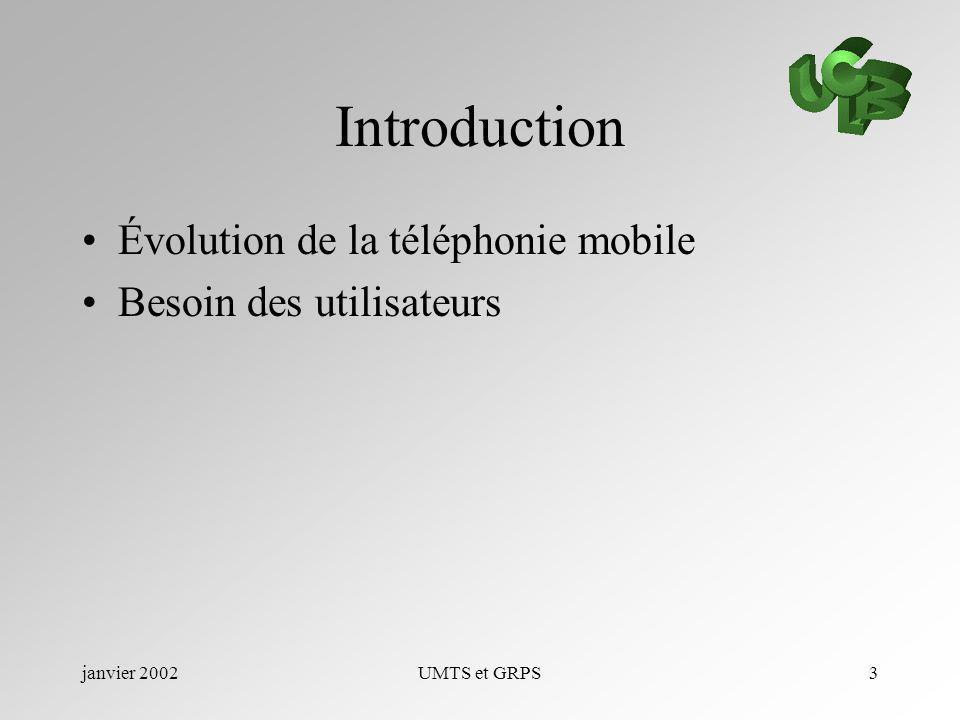 janvier 2002UMTS et GRPS3 Introduction Évolution de la téléphonie mobile Besoin des utilisateurs