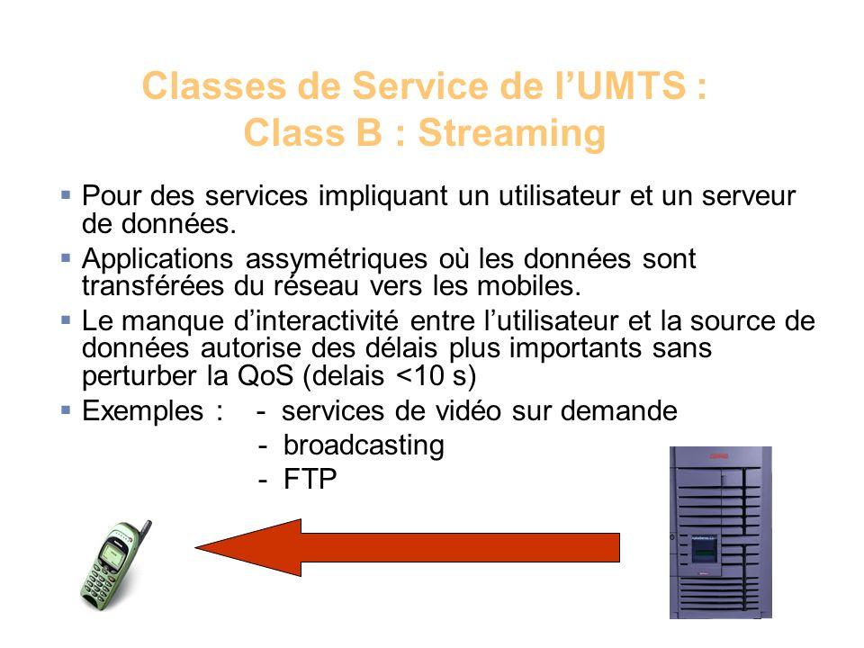 Classes de Service de lUMTS : Class B : Streaming Pour des services impliquant un utilisateur et un serveur de données. Applications assymétriques où