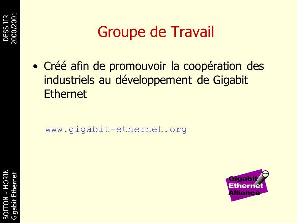 BOITON - MORINDESS IIR Gigabit Ethernet 2000/2001 Groupe de Travail Créé afin de promouvoir la coopération des industriels au développement de Gigabit