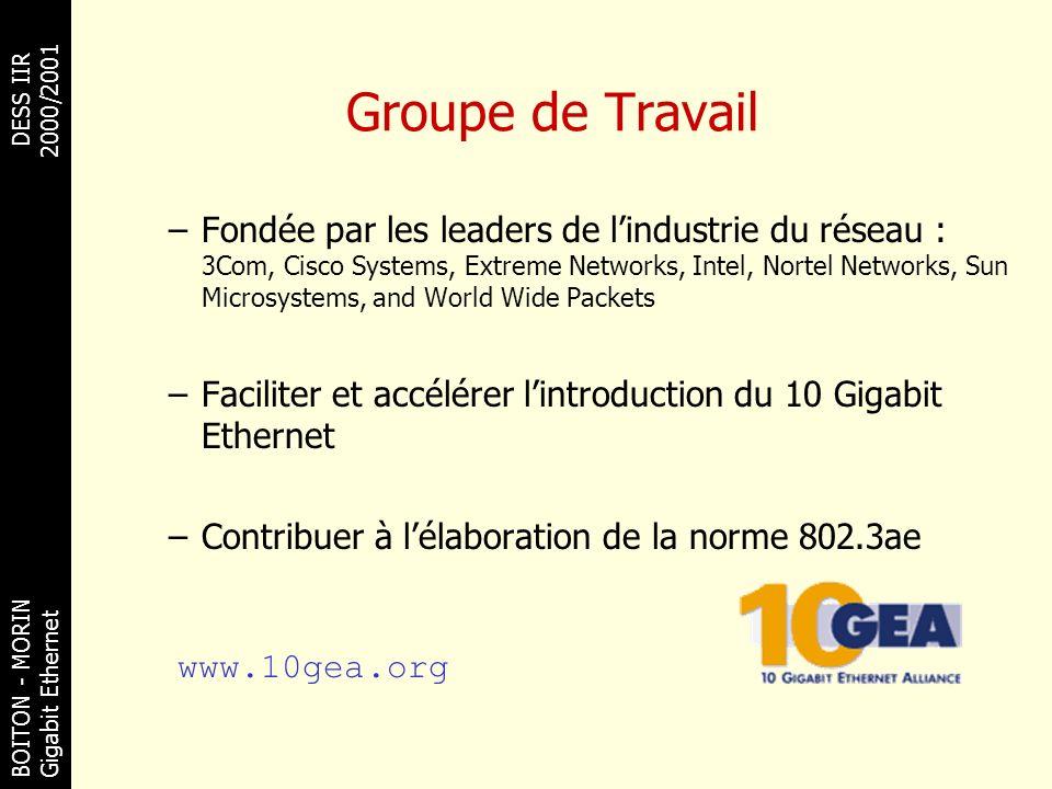 BOITON - MORINDESS IIR Gigabit Ethernet 2000/2001 Groupe de Travail –Fondée par les leaders de lindustrie du réseau : 3Com, Cisco Systems, Extreme Net