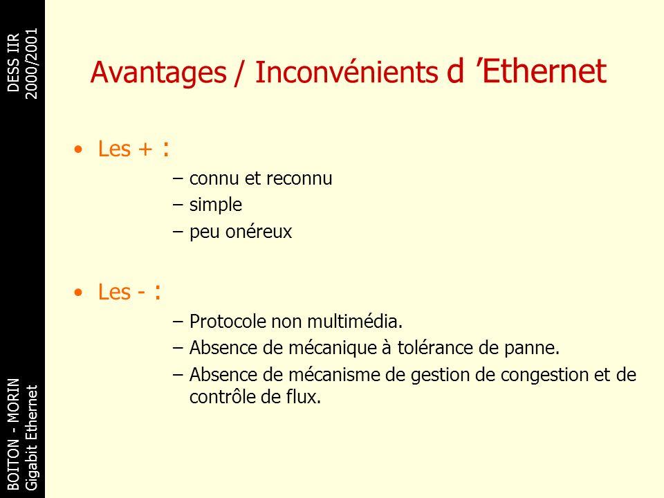 BOITON - MORINDESS IIR Gigabit Ethernet 2000/2001 Avantages / Inconvénients d Ethernet Les + : –connu et reconnu –simple –peu onéreux Les - : –Protoco