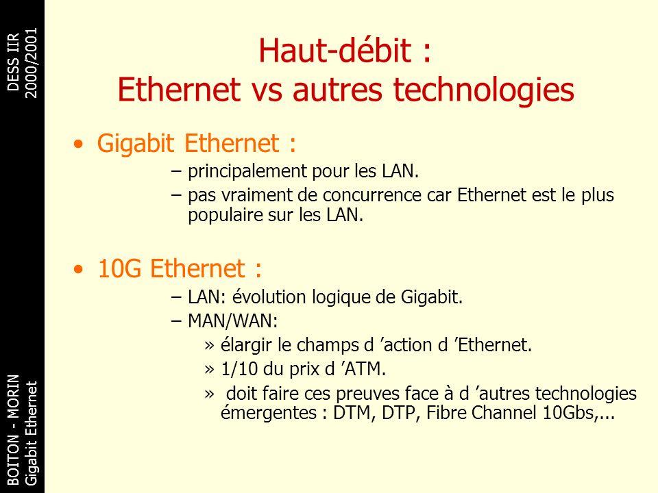 BOITON - MORINDESS IIR Gigabit Ethernet 2000/2001 Haut-débit : Ethernet vs autres technologies Gigabit Ethernet : –principalement pour les LAN. –pas v