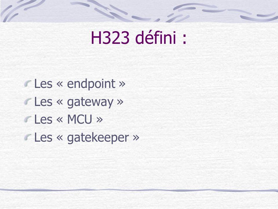 H323 défini : Les « endpoint » Les « gateway » Les « MCU » Les « gatekeeper »