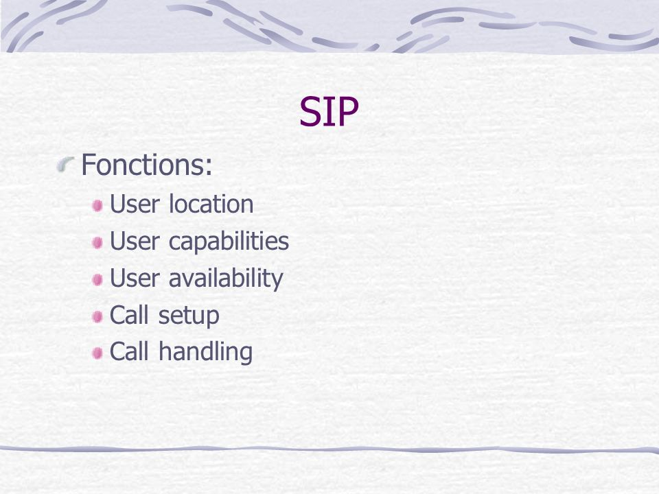 SIP Fonctions: User location User capabilities User availability Call setup Call handling