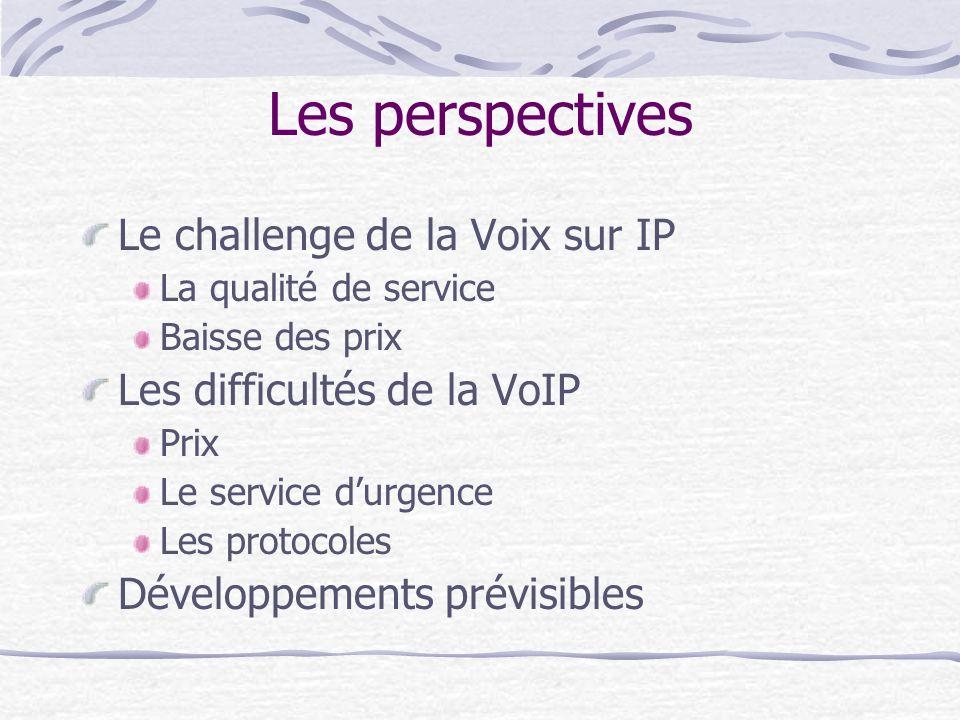 Les perspectives Le challenge de la Voix sur IP La qualité de service Baisse des prix Les difficultés de la VoIP Prix Le service durgence Les protocoles Développements prévisibles