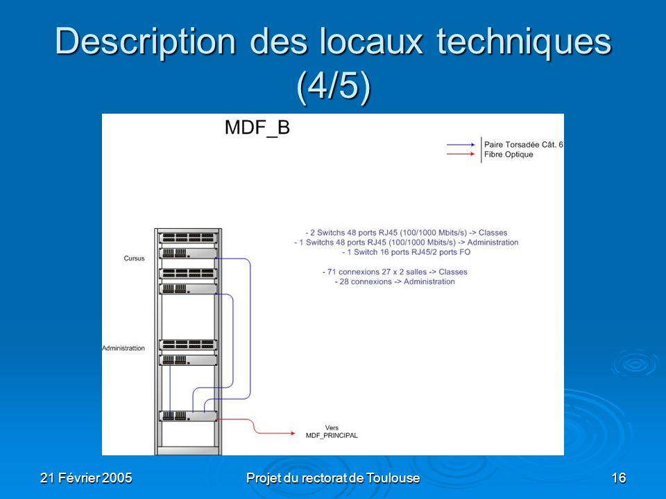 21 Février 2005Projet du rectorat de Toulouse16 Description des locaux techniques (4/5)