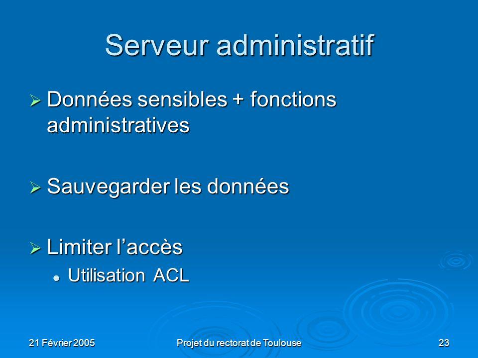 21 Février 2005Projet du rectorat de Toulouse23 Serveur administratif Données sensibles + fonctions administratives Données sensibles + fonctions admi