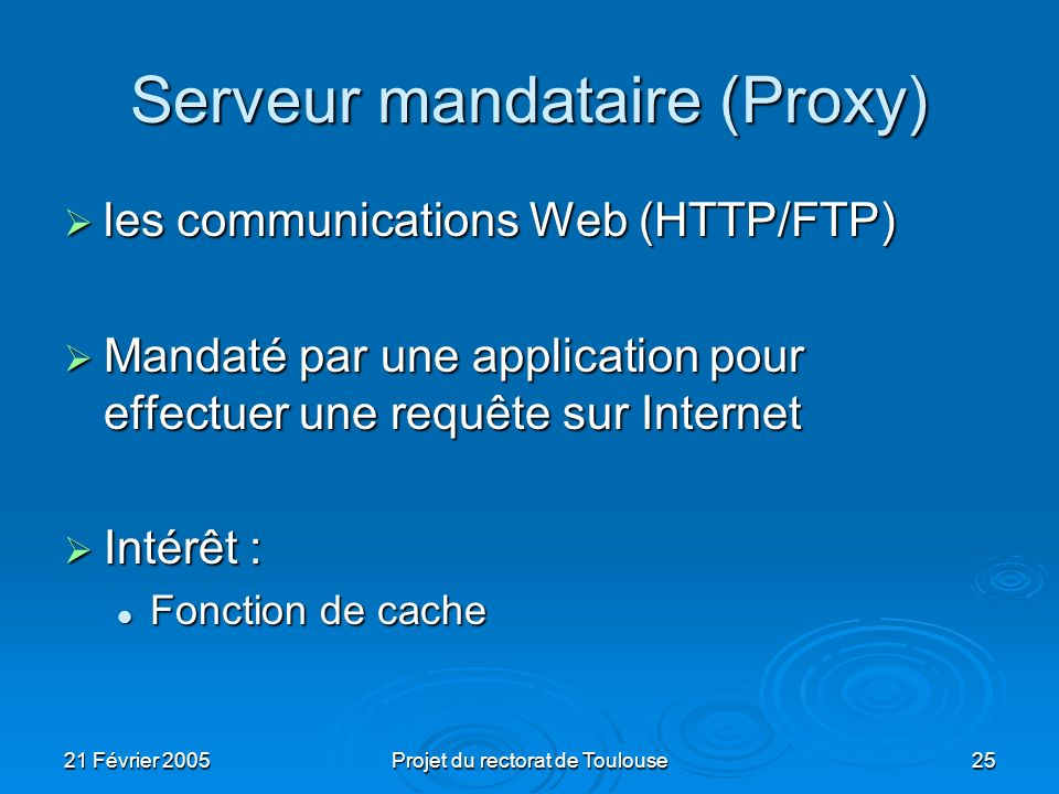 21 Février 2005Projet du rectorat de Toulouse25 Serveur mandataire (Proxy) les communications Web (HTTP/FTP) les communications Web (HTTP/FTP) Mandaté