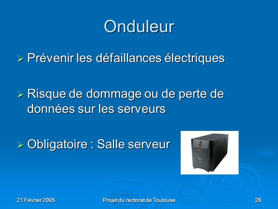 21 Février 2005Projet du rectorat de Toulouse26 Onduleur Prévenir les défaillances électriques Prévenir les défaillances électriques Risque de dommage